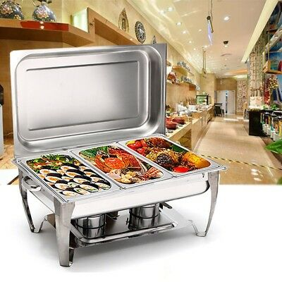 Stainless Steel Three 2-1/2 Quart Rectangular Chafing Dish Full Buffet Catering
