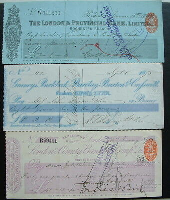 3 x  VINTAGE USED VICTORIAN BRITISH BANK CHEQUES
