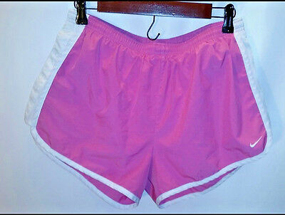 Nike Dri-Fit Women's Athletic Running Shorts Pink/ White Lined Size Large 12-14