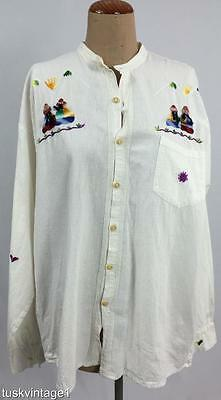 VINTAGE Mens unisex NATURAL ivory COTTON embroidered South American shirt 46 XL