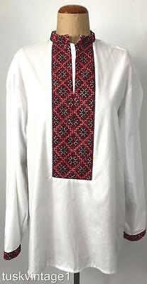 VINTAGE Mens WHITE cotton blend EMBROIDERED panel Mandarin collar SHIRT L XL
