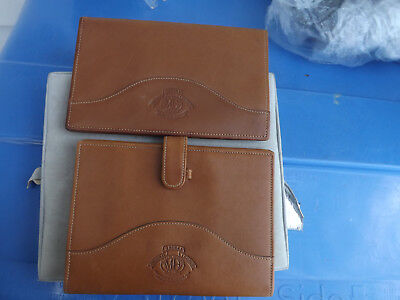 Lot Of Two Leather Ghurka Hodgson Handmade Check Book And Writing Pad