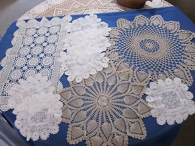 9  Crochet Doilies All Different Sizes And Colours