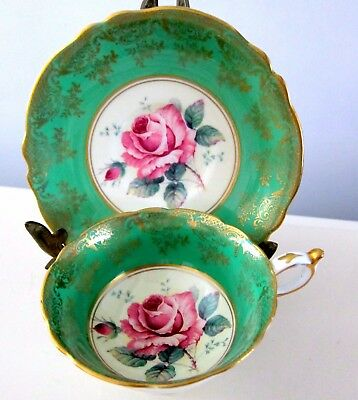 Paragon By Appointment To Hm Queen Mary Cabbage Rose Emerald Green Teacup