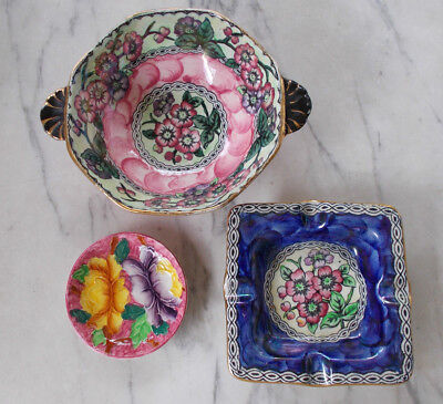 3 x Vintage Art Deco MALING Lustre Pink Thumbprint Bowl, Blue Ashtray & Pin Dish