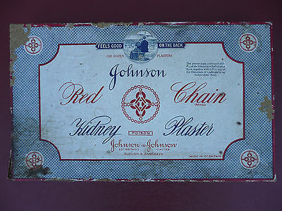 Original Johnson and Johnson Red Chain Kidney Plasters Box [Antique Medical]