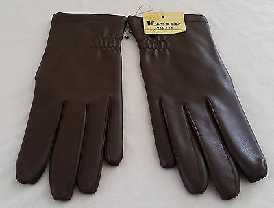 Vintage 1980s Kayser BROWN Vinyl Polyester Lined Short Driving Day Gloves size M