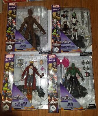 Disney Store Marvel Select Guardians of the Galaxy Complete Set Action Figures