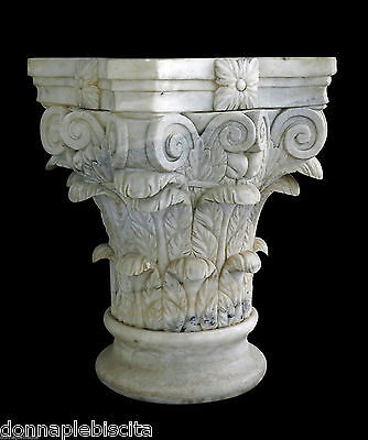 Capitello White Marble Carrara Antique Vintage White Marble Classic Capital