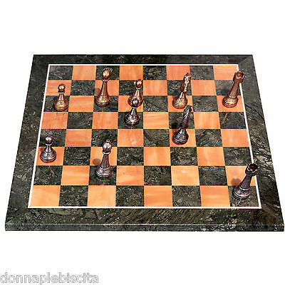 Chessboard in marble Yellow Siena and green Alps with Chess brass Chessboard