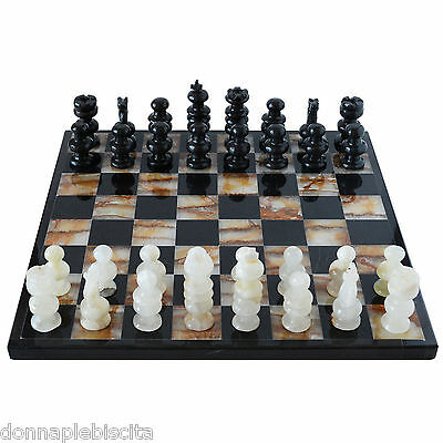Chessboard with Chess in Marble Black and Onyx Green Set 35x35cm