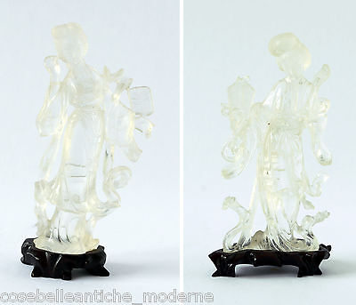 Paar Skulpturen Guanyin Crystal Rocca Antiquitäten China late Qing xixsec