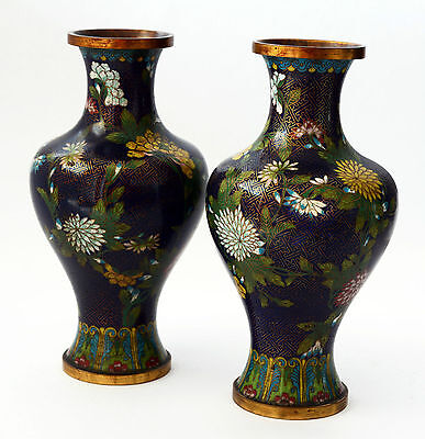 Paar Vasen Chinese Cloisonne Antiquitäten China Antike old pair of fine XIX sec