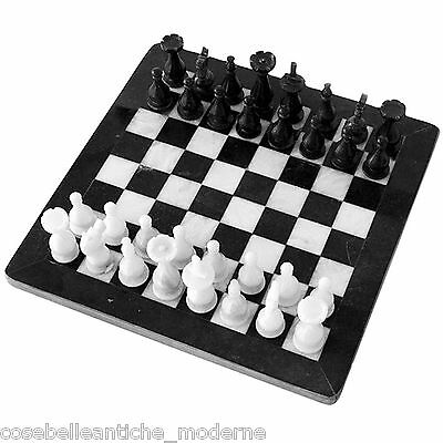 Chessboard with Intarsi Marbles White Black Inlays Chess 40x40cm