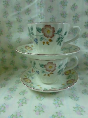 "Churchill ""Briar Rose"" Cup and Saucer x 2 Staffordshire England"