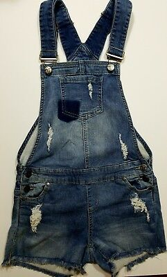 Tractr Cotton  Denim look Overalls Girls Size L EUC Blue Jean cut off shorts