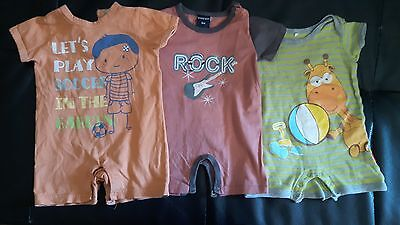 Lot  3Pcs Baby Boy Clothes Short Sleeve Rompers Overalls 3-6 Months