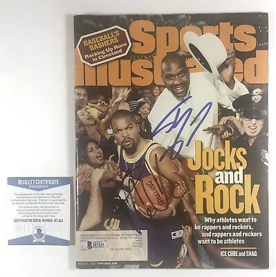 Shaquille Oneal & Ice Cube Signed Sports Illustrated Magazine Beckett Coa I87424
