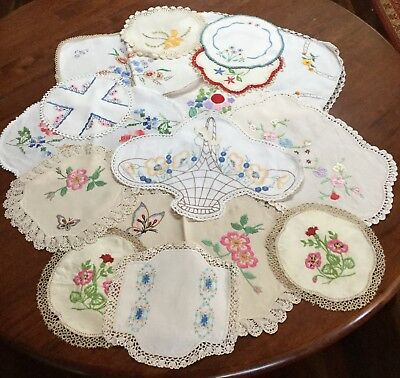 Bulk Vintage Mixed Cotton Hand Embroidered Doilies - Butterflies Flowers Etc