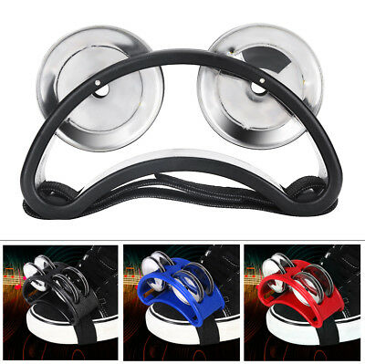 3 Colors Foot Tambourine Percussion Instrument 2 Sets Metal Jingle Bell Kit