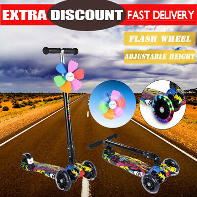NEW Kids Foldable 4 PU Flashing Wheels Kick Push Scooter Children Kickboard AU
