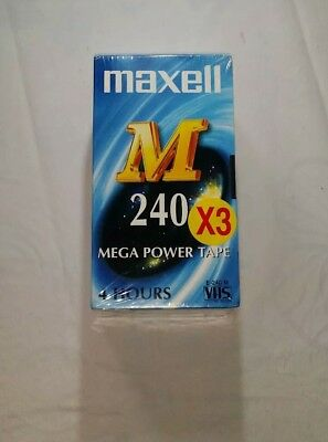 3 Maxell VHS Video Tapes 4 hours E240M Mega Power - New