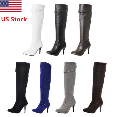 Us Sexy Women Ladies Thigh High Over The Knee High Heel Side Zipper Winter Boots