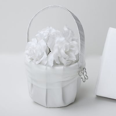 White Satin Butterfly Flower Girl Bridesmaid Wedding Baskets SF