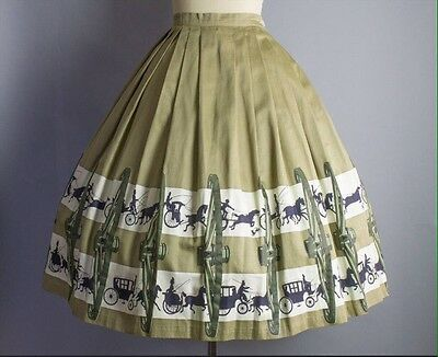 ORIGINAL Vintage 1950s Novelty Print Skirt Horse and Carriage Border Print 50s