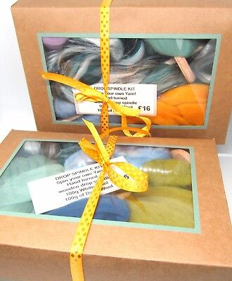 Drop Spindle Kit Learn to Spin your own Yarn Gift Set 200g Combed Wool Top