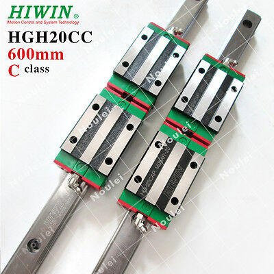 HIWIN Linear Guide 600mm, 2pcs HGR20 Railes with 4pcs Bearing Block HGH20CA