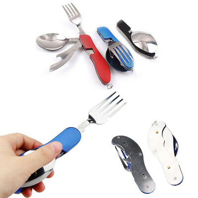 3-in-1 Camping Hiking Outdoor Pocket Folding Knife Fork Spoon Cutlery Multi Tool
