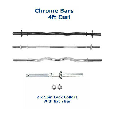 Spinlock Barbell Weight Weights Bar 4FT 120cm EZ Curl / Straight Collars