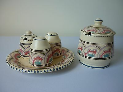 Vintage retro Honiton pottery Devon Eastern Scroll pattern cruet set and jar