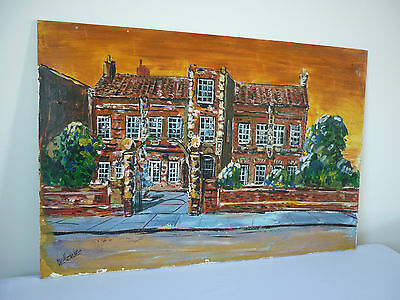 Vintage signed acrylic or oil painting on board of Wilberforce house in Hull