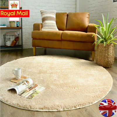 Modern cheap Soft Thick Mat Pile Shaggy Rugs Mat Carpet round Medium Area Rug UK