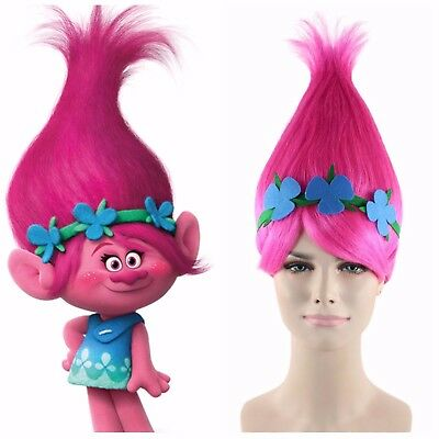 Poppy Trolls Style With Headband ADULT Fancy Dress Wig