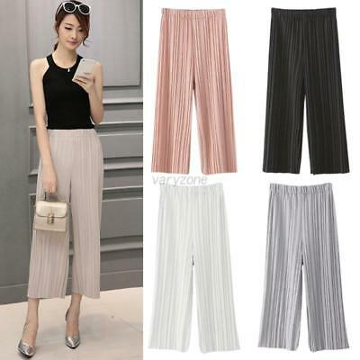 Women Casual Long Pants Pleated Chiffon Wide-leg Trousers Loose Culottes 4 Color