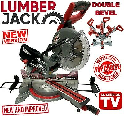 "Lumberjack 10"" 254mm DOUBLE BEVEL Sliding Compound Mitre Saw with Laser 240v"