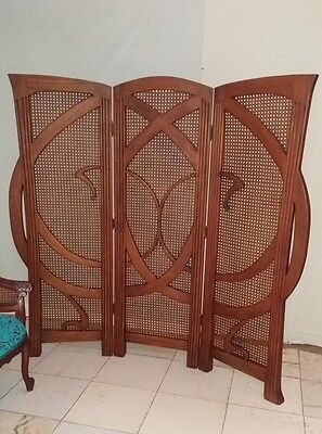Art Nouveau Deco Style Mahogany and Rattan  Screen Solid Mahogany Brand New
