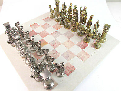 Vintage large pewter metal chess set with soapstone board