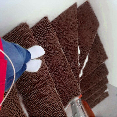 13pcs Stair Mat Pure Color Security Stair Treads Carpet Simple Non-Slip Rug