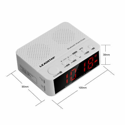 3 in 1 Mini Alarm Clock FM Radio MP3 Player Portable Bluetooth Speaker White