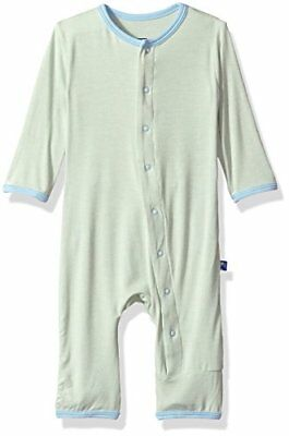 KicKee Pants Baby Fitted Applique Coverall Aloe Hello World Preemie