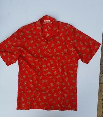 Vintage Target Australia 41/42 Large Paisley Red Short Sleeve Cotton Shirt