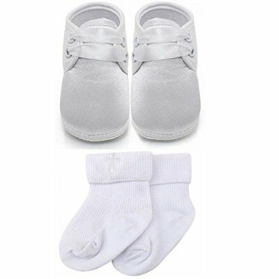 Delebao Baby Infant Lace Up Satin Christening Baptism Shoes Bootie Slippers S...