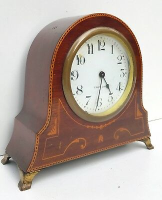 American Mahogany Inlaid Mantle Clock On Brass Feet