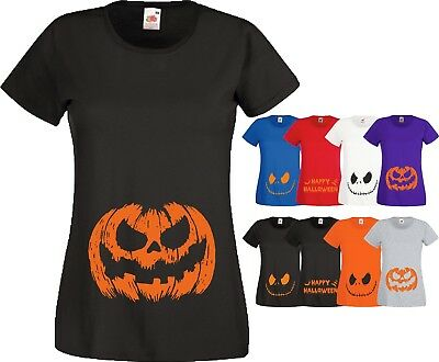 Materity Pregnancy T-Shirt Happy Halloween Bats Pumpkin Mum Baby Scary Smiling
