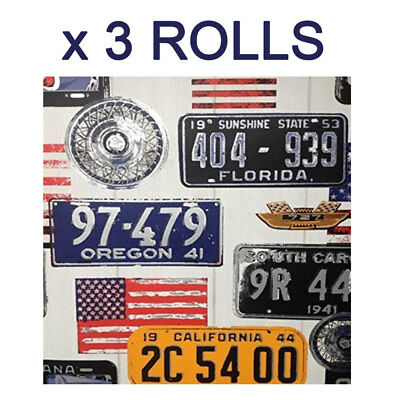 American USA Wallpaper Number License Plates Flags Florida California States x 3