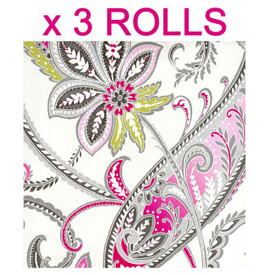 Green Pink Tropical Paisley Wallpaper Cream Floral Flowers Leaves Modern x 3